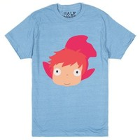 Ponyo-Unisex Heather Lake Blue T-Shirt