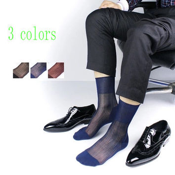 Hot!Men Transparent stripe Sexy Sheer Silk socks high quality Men's Formal dress suit Socks FOR Gay fetish True picture Socks