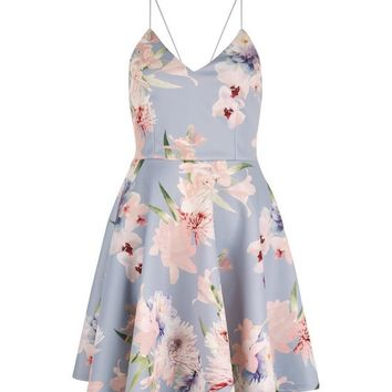 Light Grey V Neck Floral Print Skater Dress