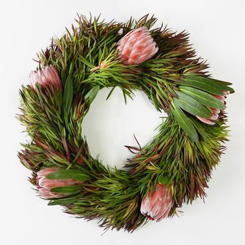 Safari Sunset Leucadendron & Pink Ice Protea Wreath