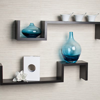 Laminated Espresso 'S' Wall Mount Shelves (Set of 2) | Overstock.com