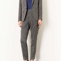 MODERN TAILORING HERRINGBONE SLOUCH BLAZER AND SUIT TROUSERS