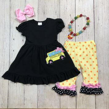 RTS- Girls Back to School 2pc- Yellow w/ Polka Dots D14