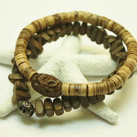 Men's Bracelet Set, Tan Coconut Shell Beads, Brown Wood Beads, Stretch bracelets, Gift, Beach, Summer, Ready to Ship