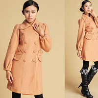 button curved flap pockets wool coat (382)