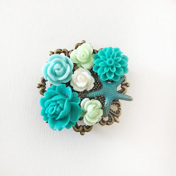 Starfish Brooch Aqua Teal Floral Embellished Bridal Belt Flower Floral Pin Vintage Style Bridesmaid Gift Rustic Seaside Ocean Wedding