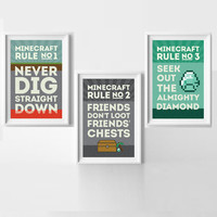 MineCraft Rules Poster Set Buy Three and Save! Instant Downloadable PDFs