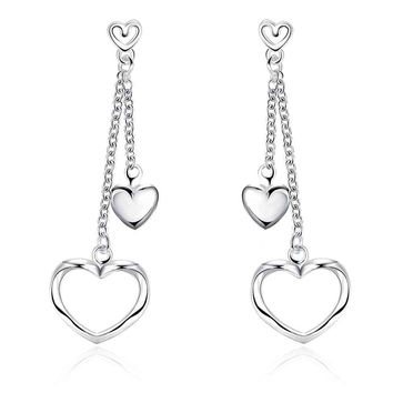 silver earrings Hollow double heart drop cuff charm 651 MP