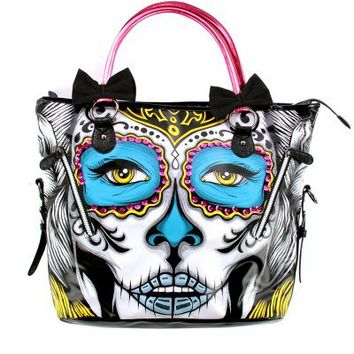 Iron Fist Lady Killer Day of the Dead Sugar Skull Vegan Tote Handbag