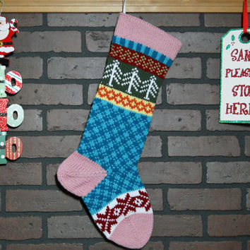 Colorful Hand Knit Christmas Stocking, Fair Isle Design, Pink Cuff with Trees and Snowflakes, can be personalized