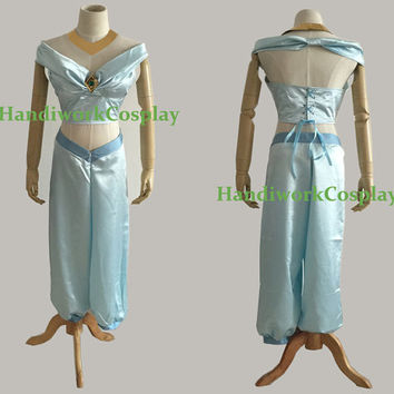 Custom Jasmine Costume Adult,Disney Aladdin Princess Jasmine Blue Sexy Cosplay Outfit