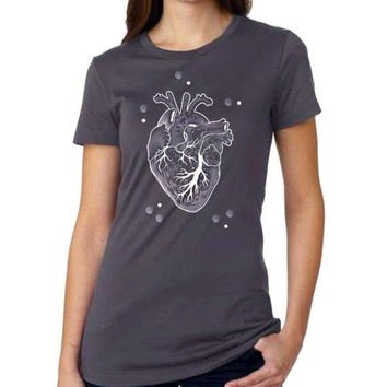 Human Heart t-shirt short sleeve anatomy art Tee unisex anatomical heart T-shirt medical art triblend tee heart T-shirt gift for doctors [4]