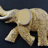 Elephant Brooch Trunk Up Tusks Good Luck Gold Tone Rhinestone Eyes Vintage