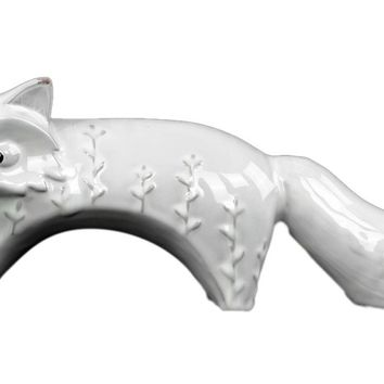 Ceramic Distressed Gloss Finish White Embossed Standing Fox Figurine