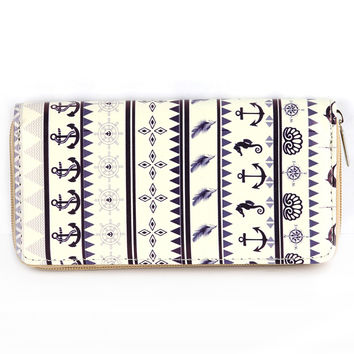 Nautical Anchor And Seahorse Clutch Wallet