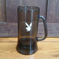 Vintage Playboy Beer Stein Mug Smoky Glass With White Rabbit Head