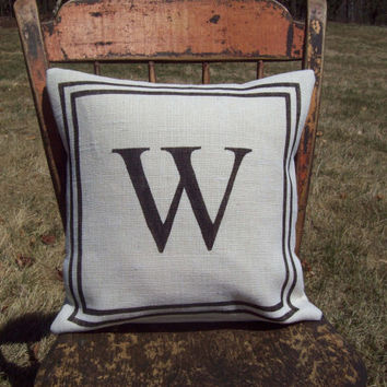 Burlap Initial Pillow Cover with Double Stripe Border 16 x 16 - Choose Your Colors