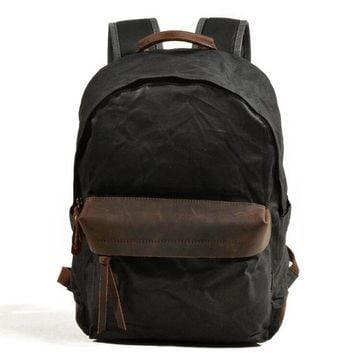 School Backpack trendy New Fashion Backpack Casual Men Backpacks Green Euro Canvas Leather Bags Vintage School Bag Brand Canvas Rucksack Men's Bags AT_54_4