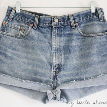 High Waisted Denim Levi's Shorts by MyLittleShortShop on Etsy