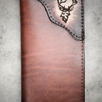 Roper Checkbook Wallet Genuine Cowhide Leather with Handtooled Deer Corner accent--Name or Initials Engraved Free!