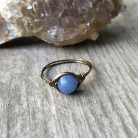 Stone ring, wire ring, wire wrapped ring, wire wrapped stone ring, healing stone jewelry, blue stone ring, bohemian ring, hippie chic
