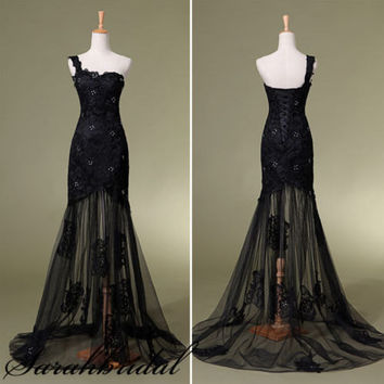 Black Lace One Shoulder Long Formal Dress Evening Party Dress Military Ball Gown