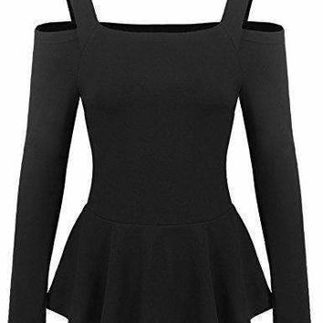 Zeagoo Women Ruffle Side Casual Peplum Top Sexy Blouse Black Small