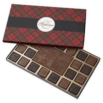 Adorable Red Christmas tartan Monogram 45 Piece Box Of Chocolates by PLdesign