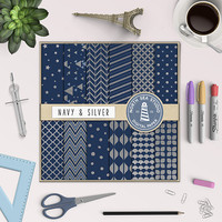 BUY5FOR8 Silver Digital Paper Navy And Silver Paper Navy Backgrounds Digital Scrapbooking 12 JPG 300 DPI Files DownloadUY5FOR8