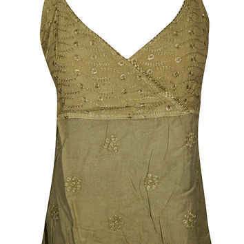 Womens Peasant Blouse Spaghetti Strap Summer Beach Hippie Tank Top