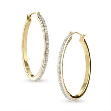 Diamond Fascination™ Large Round Hoop Earrings in 14K Gold - Save on Select Styles - Zales
