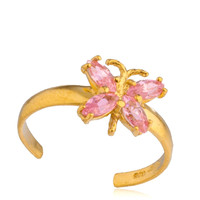10k Yellow Gold Butterfly with Pink CZ Stones Toe Ring