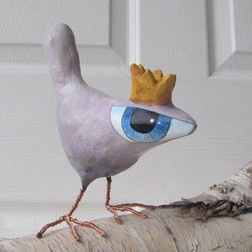 $52.00 Paper Mache Art Sculpture Dorothy A Big Eyed Bird by Fishstikks