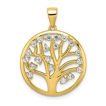 Sterling Silver Gold Plated Created White Sapphire Tree Of Life Pendant