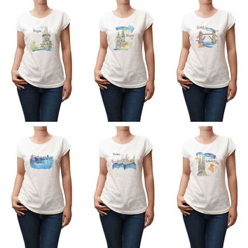 Women Watercolor famous place painting Printed T-shirt WTS_02