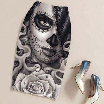 MDIGCI7 Summer Black Gothic Punk Rock Clothing Pencil Skirt Clothing Vintage Sugar Skull Rose Ladies High Waist Midi Bodycon Skirts