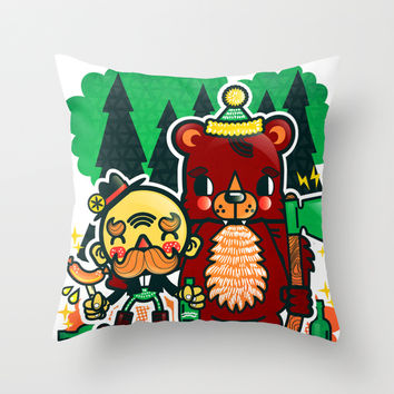Lumberjack and Friend Throw Pillow by Chobopop