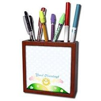 InspirationzStore Kawaii designs - Good Morning sunshine - cute kawaii happy sun rising over hills - baby blue polka dots sunny summer - 5 inch tile pen holder (ph_113064_1)