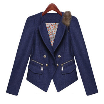 Long Sleeve Double-Breasted Cropped Blazer with Fur Decor
