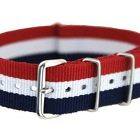 20mm Red White Blue - Nylon Nato Ballistic Military Watch Band Strap G-10