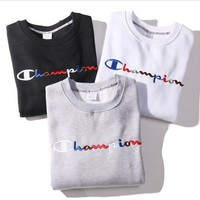 Champion Fashion Round Neck Colored Embroidery Sweater Tops