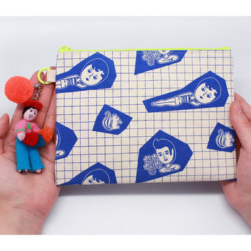 Oohlala Aurore grid canvas zipper pouch ver.3