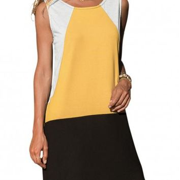 Yellow Color Block Geometric Sleeveless Sundress