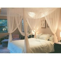 Goplus Goplus 4 Corner Post Bed Canopy Mosquito Net Full Queen King Size Netting Bedding White