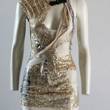 Party Dress Gold Sequin Mini Dress Unique OneOff by chrisst
