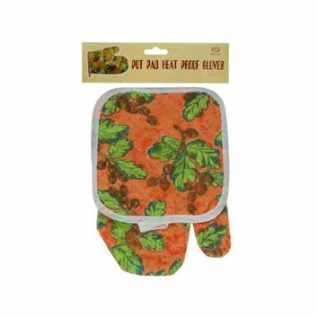 Quilted Floral & Fruit Print Oven Mitt & Pot Holder Set ( Case of 48 )