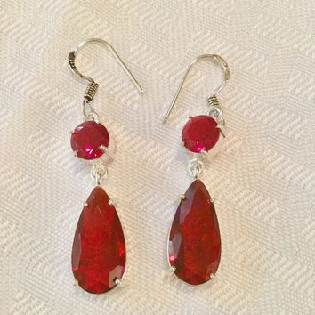 Dangling garnet sterling silver earrings