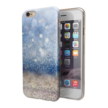 Blue Unfocused Silver Sparkle 2-Piece Hybrid INK-Fuzed Case for the iPhone 6/6s or 6/6s Plus