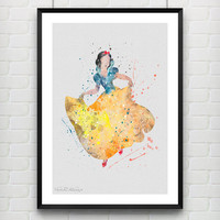 Snow White Watercolor Print, Disney Baby Girl Nursery Decor, Wall Art, Home Decor, Gift Idea, Not Framed, Buy 2 Get 1 Free! [No. 83]
