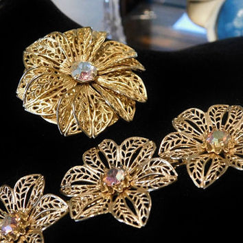 MARINO Necklace Choker and Dress Clip 1950s Mid Century Rhinestone AB Aurora Borealis Necklace Flower Floral Filigree Gold Tone Metal Choker